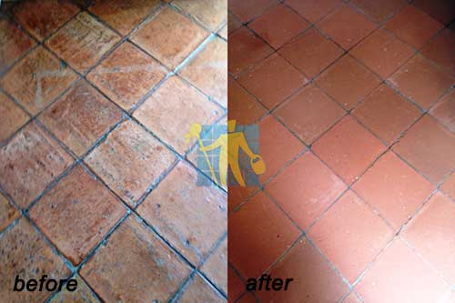 Terracotta Tiles Before and After Cleaning