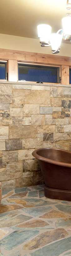 terracotta tiles in bathroom modern
