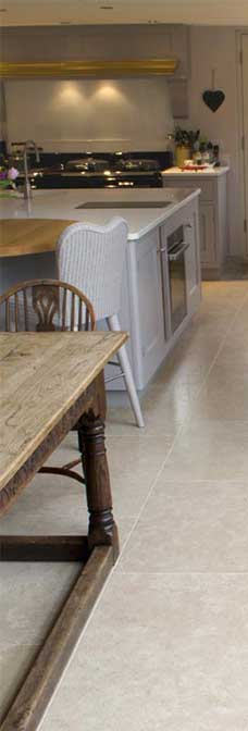 morden limestone tile in kitchen floor and wall