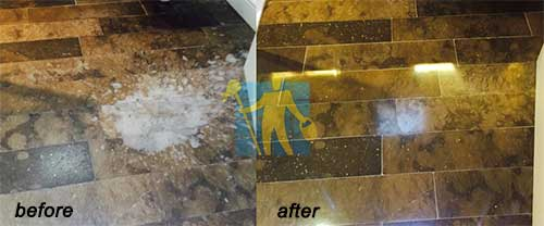 bleach spilled on a marble floor then cleaned and polished before and after Melbourne