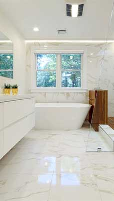 contemporary bathroom marble tile floor and wall Melbourne