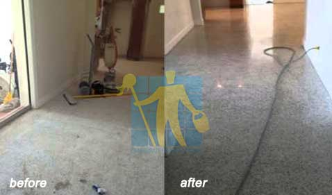 Cleanind stains of terrazzo tiles and restoration  before and after